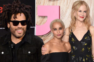 Lenny Kravitz with Zoe Kravitz and Nicole Kidman