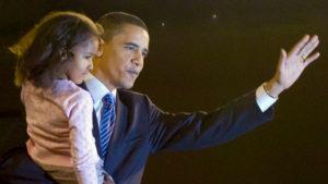 Sasha Obama with her father